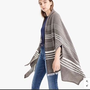 j.Crew striped cape scarf in charcoal gray NWT